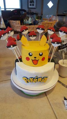 Pokemon pikachu birthday cake oreo poke ball pops 9th Birthday Parties, Themed Birthday Cakes, Boy Birthday, Birthday Ideas, Pokemon Cupcakes, Pokemon Birthday Cake, Festa Pokemon Go, Pokemon Party, Bolo Pikachu