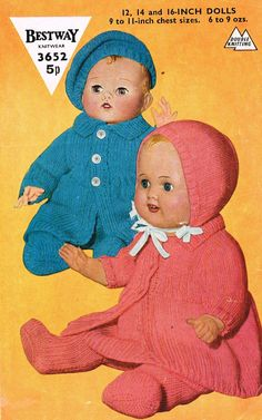 Dolls clothes knitting pattern for a 12, 14 and 16 inch doll. ( vintage copy) PDF Instant download Adorable vintage knitting pattern for Coat, dress, leggings, bonnet and beret. Great stash buster and a must knit for any little girl who loves dressing her dolls in pretty clothes. Knitted in D/K wool. Knits on number 8, 9,10 & 11 needles (4.0 mm, 3.75 mm,3.25mm & 3.00mm). Tension 12 sts. and 16 rows to 2 inches. Fits a variety of dolls including Baby Born and 1st Annabelle (16) ...