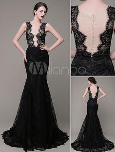 Mermaid Evening Dress V-Neck Lace Illusion Backless Court Train  Celebration… Pageant Dresses 3b2cda522