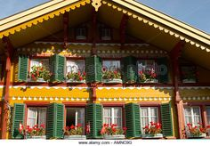 Find the perfect traditional wooden alpine house stock photo. Swiss Ski, Swiss Chalet, Tahoe Rentals, Alpine House, Swiss Style, Southern Porches, Chalet Style, Bird Boxes, Exterior Remodel