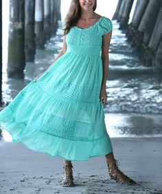 Love this Green Eyelet Empire-Waist Maxi Dress - Women by Ananda's Collection on #zulily! #zulilyfinds