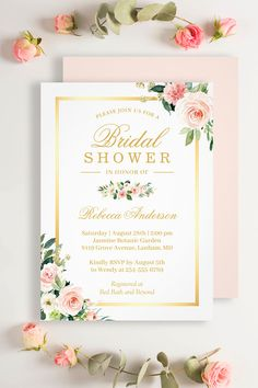 """""""Blushing Pink Flowers with a gold frame"""" is one of the most popular theme for all occasions. We created amazing custom invitation designs offering a fully coordinating wedding suite for this theme from Invitations to RSVP card, Information Card, Labels, Sign Posters and more. Floral Invitation, Invitation Suite, Invitation Design, Bridal Shower Invitations, Custom Invitations, Gold Bridal Showers, Wedding Suite, Pink Flowers, Rsvp"""