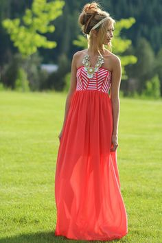 Calm Cool Collective Tube Striped Dress (Coral)