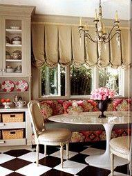 window treatment, tulip table, seating..