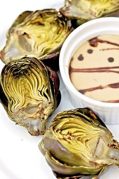 Grilled Artichokes with Dijon Balsamic Sauce or maybe sub roasted brussels sprouts. must try that sauce no matter what