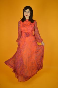 98a869e579c Like the vintage chiffon look minus the rose on front      Vintage Chiffon  Paisley Red Maxi Dress