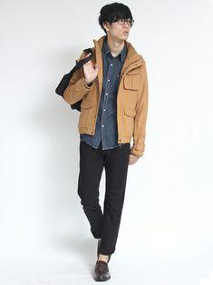 シャツ メンズ 着こなしのミリタリージャケット「 V-men M-65ウールブルゾン e-1509」を使ったコーディネート