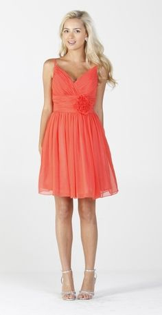 Chiffon Coral Bridesmaid Dress Ruched Top Flower Waist Knee Length