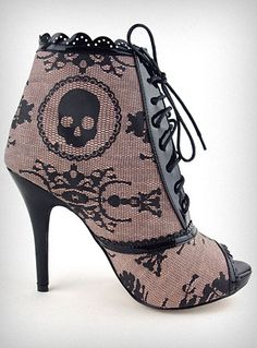 Victorian Blush Skull Booties $56.00 oooo fun for a pirate princess!!!