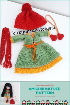 We have translated the amigurumi winter doll pattern for you.You can visit our website for more free patterns. Angel Crochet Pattern Free, Crochet Patterns Amigurumi, Amigurumi Doll, Free Crochet, Free Pattern, Crochet Ideas, Knitted Dolls, Crochet Dolls, Crochet Hats