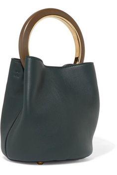 Marni - Pannier Leather Mini Bucket Bag - Forest green
