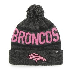 77bc285d0 Denver Broncos Womens 47 Brand Pink Charcoal Cuff Knit Beanie