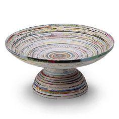 Recipiente con pedestal en papel reciclado   -   Recycled Paper Pedestal Bowl