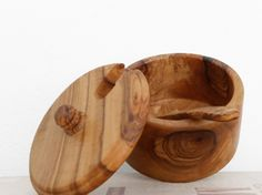 Handcrafted Wooden Rounded Salt, Sugar, Coffee Or Tea Box Jar Container & Small Spoon - Made From Olive Wood - The Perfect Kitchenware Gift by Zitouna Wood on Gourmly