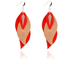 leaf earrings leather earrings leather leaf red by Sarayana