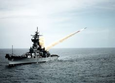 USS New Jersey launches a Tomahawk missile.