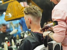 WEBSTA @ rokkmanbarbers - Paula with the finishing touches.Clean cut for Australia Day#collins #barber #barbering #fade #toorak #rmb