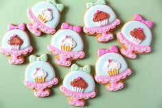 Cupcake cookies in domed tiered cake stand - Y&C Sweets