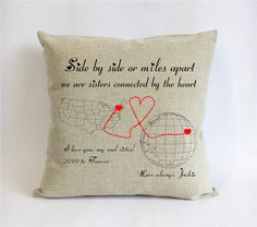 long distance sister cushion-big sister globe map by Pillow6218