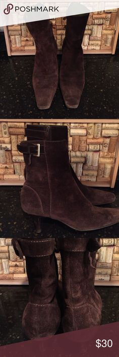 """🆕 Ann Taylor Pointed Toe Brown Suede Boots Brown suede ankle boots with silver buckle and pointed toe; heel height: 2 1/4""""; leather sole; LIKE NEW CONDITION!!!!!! Ann Taylor Shoes"""