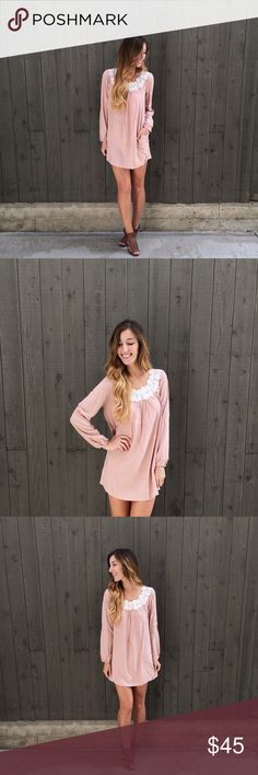 | new | blush embellished dress offers welcome new with tag blush pink long sleeve dress with appliqué along neckline and side pockets. •441076• Dresses Long Sleeve