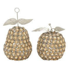 Jeweled Metal Apple & Pear Table Decor 2-piece Set,