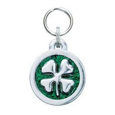Tell all what a lucky pet you have with this Clover Leaf pet ID tag. A fun way to showcase your pet's identity, choose from a variety of colors and. Dog Tags Pet, Dog Collar Tags, Purple Sparkle, Dog Boutique, Pet Id, Dog Accessories, Happy Dogs, Dog Supplies, Pitbull