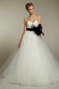 Classic ball gown wedding dress with a twist of black :)