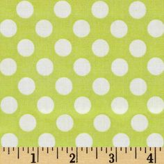 Michael Miller Ta Dot Lime from @fabricdotcom  Designed for Michael Miller from the Ta Dot collection, this fabric features an allover polka dot design in white on a lime background. Use for quilting and craft projects.