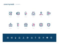 CoverMyMeds Iconography by Victor Korchuk for Unfold on Dribbble Medical Icon, Global Design, Saint Charles, Show And Tell, Motion Design, Icon Set, Icon Design, Vector Icons, Illusions
