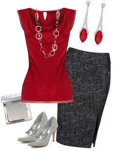 Work outfit with red blouse combined with golden necklace and red earrings. Pencil skirt and heels add the edge to the stylish outfit. Stylish Work Outfits, Summer Work Outfits, Casual Outfits, Stylish Clothes, Spring Outfits, Business Outfits, Business Attire, Business Women, Fashion Mode