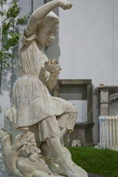 #Garden #sculpture: young girl with nest in her hands