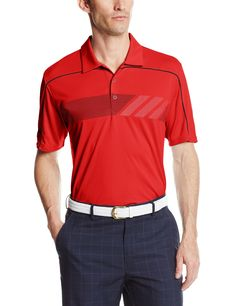 Specifically engineered to keep you cool, dry and comfortable this mens Climachill print golf polo shirt by Adidas also provides style to ensure you look your very best when out on the course