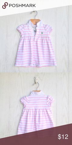 Ralph Lauren Striped Dress Short sleeve cotton knit dress. White with pink stripes. Polo style collar with button closure. Signature embroidered pony on upper left chest. Ralph Lauren Dresses Casual