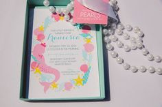 Adorable invitation! Glam Mermaid themed birthday party with Lots of Really Cute Ideas via Kara's Party Ideas | Cakes, favors, printables, games, and more! KarasPartyIdeas.com #mermaidparty #mermaids #underthesea #partystyling #partydecor #eventplanning (36)