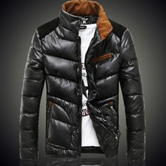 Men Patchwork Dawn Jacket With Zipper And Pockets