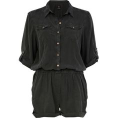 River Island Dark grey military casual playsuit (520 UAH) ❤ liked on Polyvore featuring jumpsuits, rompers, playsuits, dresses, shorts, sale, romper jumpsuit, jumpsuits & rompers, jump suit и playsuit romper