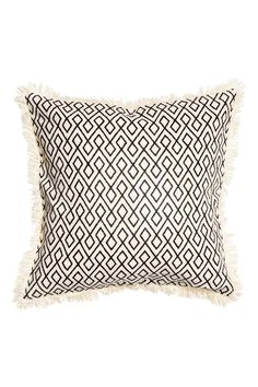 Fringed cushion cover - Natural white/Anthracite grey - Home All   H&M
