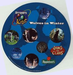Stickers Vintage 2 Round sheets Discovery Kids WOLVES IN WINTER   1997 A1 32…