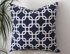 """Chain Links- Geometric Gotcha In Navy Blue and White Pillow Cover - Designer Pillow Cover 18""""- Pillowcase"""