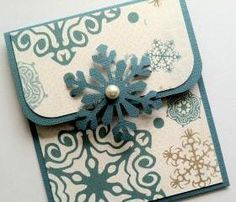 Holiday Gift Card Holder - Blue Snowflake Gift Card Holder