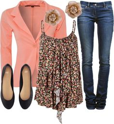 """Fall Floral Coral"" by qtpiekelso on Polyvore"