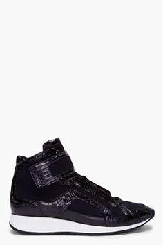 Pierre Hardy Black Whittle-snake Trim Sneakers for Men | SSENSE