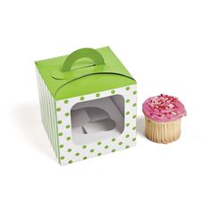 Amazon.com: 1 X Lime Green Polka Dot Cupcake Boxes (12 pc): Bakeware Accessories: Kitchen & Dining