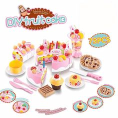 $22.92 - Nice Abbyfrank 75Pcs Pretend Play Cutting Birthday Cake Kitchen Educational Tools Toy Food Toy Kitchen For Children Play Food Tea Set - Buy it Now!