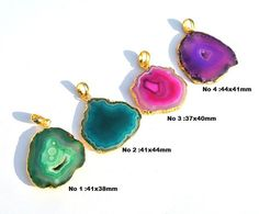 1Pc 24K Gold Electroplated Edge Multi Color by RareGemsNJewels