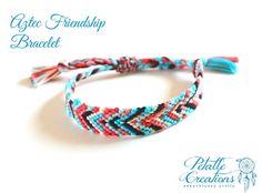 aztec friendship bracelet hand woven pull by PetalleCreations