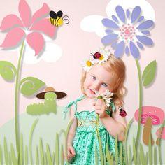 delightful flower wall stencils for little girl's room
