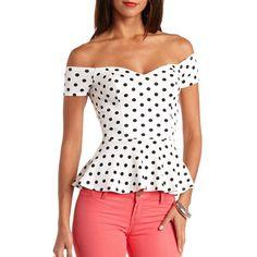 Polka Dot Off-the-Shoulder Peplum Top