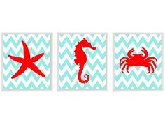 Sea Creature Art - Starfish Seahorse Crab - Chevron Nursery Ocean Bathroom Children Room - Aqua Red Wall Art Home Decor Set 3 8x10 via Etsy